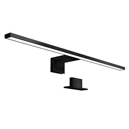 B.K.Licht LED Spiegellampe I 60 cm breit I 8 W I 4.000K neutralweißes Licht I 780 Lumen I IP44 I Schrankleuchte I Schwarz