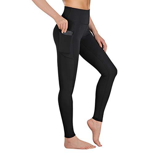GIMDUMASA High Waist Leggings Damen Sport Fitness Yogahose Lange Blickdicht Leggings Yoga Hose Sporthose Leggins Fitnesshose mit Taschen GI188(Matt-schwarz,XXL)