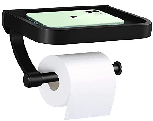 Toilettenpapierhalter ohne Bohren, Toilettenpapier Rollenhalter, Toilettenpapierrollenhalter Selbstklebend oder Bohren mit Schrauben mit Telefonablage für Badezimmer und Küche schwarz