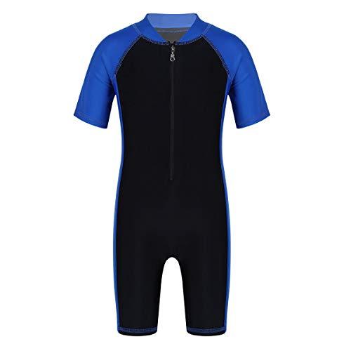 iixpin Jungen Einteiler Badeanzüge Sport Training UV-Schutz Kurzarm Schwimmanzug Badehose Kinder Bademode Sonnenschutz Sonnenanzug Blau&Schwarz 134-140