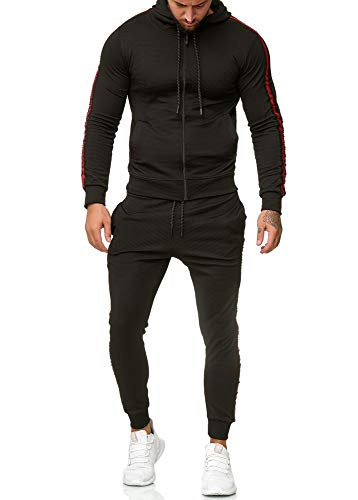 OneRedox Herren Jogginganzug Sportanzug Modell 1004 Schwarz L