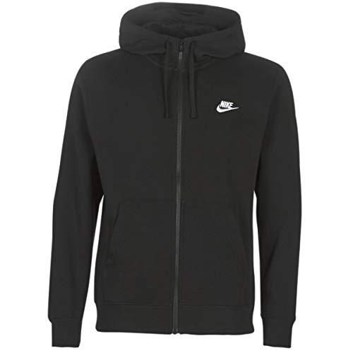 Nike Herren Hoodie mit Durchgehendem Reißverschluss Sportswear Club Fleece, Black/Black/White, L, BV2645-010