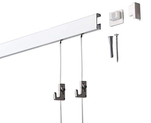 6 Meter SOFT-RAIL® Bilderschienen Set COMFORT, Weiß beschichtet, versch. Längen und Farben