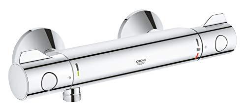 Grohe Grohtherm 800 | Thermostat-Brausebatterie, mit integrierter Mischwasserabsperrung u. Sicherheitssperre bei 38°C | chrom | 34558000
