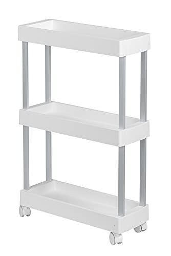 WENKO Haushalts Mino, Servierwagen, Badwagen, Haushaltswagen, Polypropylen, Weiß, 18 x 80 x 45 cm