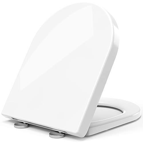 STOREMIC Toilettendeckel, WC Sitz mit Absenkautomatik, Klodeckel D-Form mit Quick Release Funktion für einfache Montage & Reinigung, Antibakteriell Klobrille aus Duroplast, Verstellbaren Scharnieren