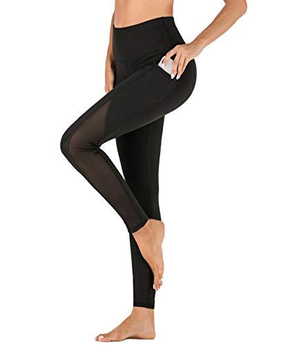 Yaavii Damen Sport Leggings mit Taschen Blickdicht Lange Sporthose Hohe Taille Yoga Hose mit Mesh-Einsätzen für Workout Gym Schwarz S