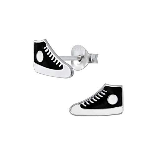 Laimons Mädchen Kids Kinder-Ohrstecker Ohrringe Kinderschmuck Schuh Sneaker Turnschuh stern schwarz weiß aus Sterling Silber 925