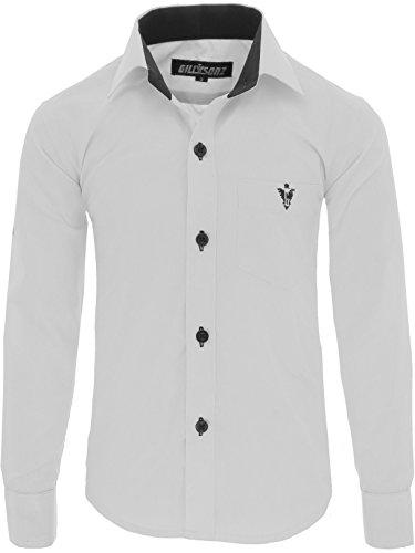 GILLSONZ A7vDa Kinder Party Hemd Freizeit Hemd bügelleicht Lange Arm mit 10 Farben Gr.86Bis158 (128/134, Weiß)