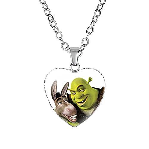 Cartoon Monster Shrek Halskette Niedlichen Tier Esel Herzförmige Glas Kaboken Schlüsselbein Anhänger Schmuck