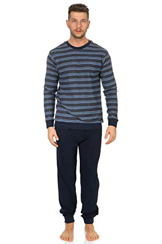 Edler Herren Frottee Schlafanzug lang mit Bündchen Pyjama in Streifenoptik 202 101 13 708, Farbe:Marine, Größe2:50