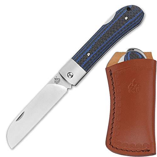 QSP Worker Taschenmesser mit N690 Böhler-Stahl, Carbonfiber/G10 Griffschalen in schwarz/blau, Taschenclip und Leder- Gürtelscheide