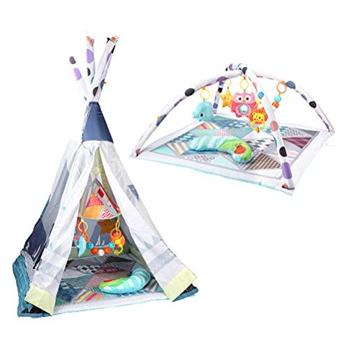 ABCDJHH Baby Spieldecke,Krabbeldecken mit Zelt & Spielbogen,Spieldecke Babys Weichem,Abnehmbaren Spielzeugen für Babys Spiel & Spaß von Geburt