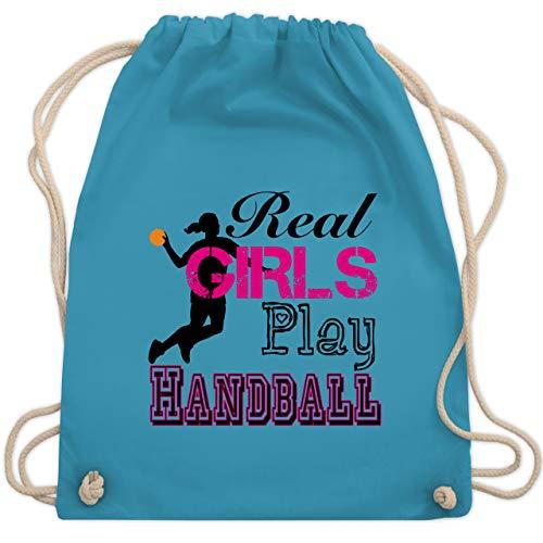 Shirtracer Handball Geschenk für Handballer - Real Girls Play Handball - Unisize - Hellblau - handball geschenk - WM110 - Turnbeutel und Stoffbeutel aus Baumwolle