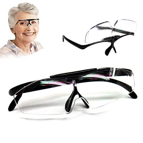 Aooeou Lupenbrille Vergrößerungsbrille 160% Lesehilfe und Sehhilfe Lupen, Hände Frei Leselupe Verzerrungsfrei Lupe als Brille für Brillenträger Senioren Lesen und Feinarbeiten,Schwarz