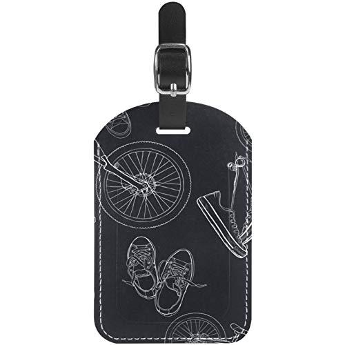 Gepäckanhänger, handgezeichnete Mountainbikes und Sneakers, Leder, für Reisekoffer, 1 Packung