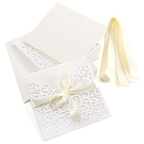 10er Ivory Weiss Einladungskarten Elegant Spitze Design mit Karten, Umschläge, Schleifer, Einlegeblätter OHNE DRUCK Hochzeit Geburtstag Taufe Party Einladung