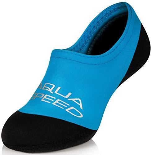 Aqua Speed Neoprensocken Kinder | Schwimmsocken für Mädchen Jungen | Water Socks | Schwimmen Socken rutschfest | Badesocken Neopren | Swimming | Tauchsocken | 01 - Blau, Gr. 32-33 | Neo