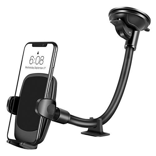 Amazon Brand - Eono Handyhalterung Auto, Verbesserte Telefonhalterung für die Autowindschutzscheibe, Waschbarer Saugnapf mit Langem Arm, Autohalterung kompatibel mit iPhone 12 11 Pro Max, XR/X/8/ Plus
