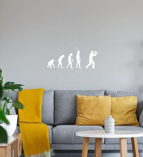 Evolution Paintball Wandtattoo Weiß Aufkleber 40 x 16 cm