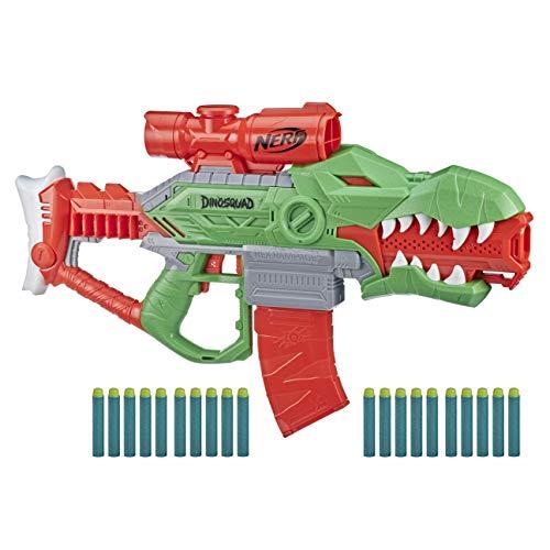 Nerf DinoSquad Rex-Rampage motorisierter Blaster, 10-Dart Clip-Magazin, 20 Nerf Darts, 10-Dart Aufbewahrung, T-Rex Dinosaurier Design