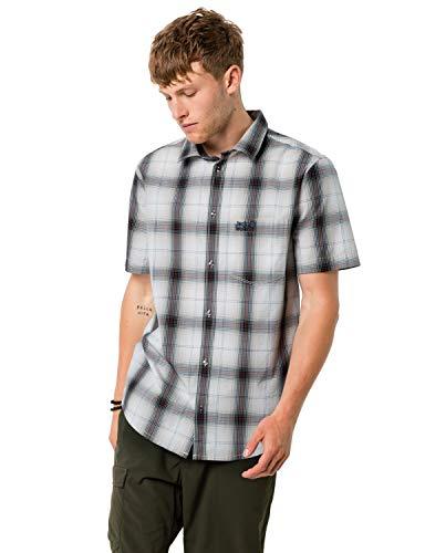 Jack Wolfskin Herren Luftiges Outdoor Hemd Kurzarm HOT Chili Shirt M, Dusty Grey Checks, XXL, 1400245-7432006