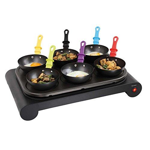 3-in-1 Grill-, Wok- und Crepe-Zubereitung für 6 Personen Elektrogrill Crepemaker Tischgrill Antihaftbeschichtung (Backplatte für Pfannkuchen, Bunte Pfännchen, 1000 Watt)