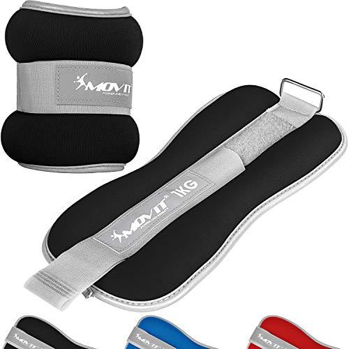 Movit® 2er Set Gewichtsmanschetten Neopren mit Reflektormaterial und Frottee-Einsatz Laufgewichte für Hand- und Fußgelenke 2X 2,0 kg schwarz