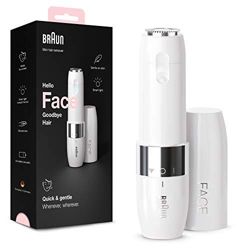 Braun Face Mini Haarentferner FS1000, elektrischer Gesichtshaarentferner für Frauen, Gesichtsrasierer & Haarentfernung für Damen, schnelle & sanfte Rasur, Oberlippe, Kinn & Wangen, für unterwegs, weiß