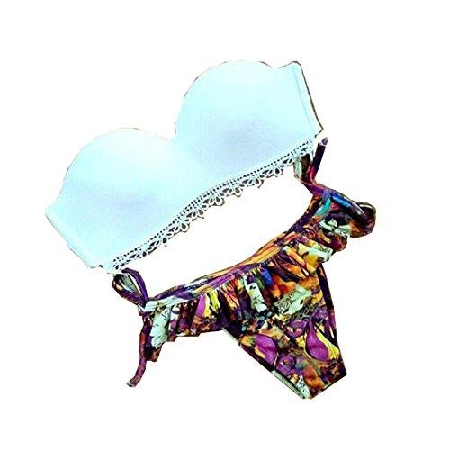 hansee 2017Frauen, Sexy, Schulter Rüschen Bikini Badebekleidung Print swimsut Strand tragen, damen Mädchen, Fn-0814, mehrfarbig