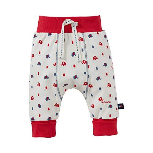 Bornino GOTS Hose - Babyhose mit Rippenbund, Zierband & Umschlagbündchen an den Beinabschlüssen - Stoffhose im Allover-Elefanten-Print - Offwhite