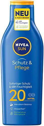 Nivea Sun Schutz & Pflege Sonnenmilch mit verbesserter Formel, Lichtschutzfaktor 20, 1er Pack (1 x 250 ml)