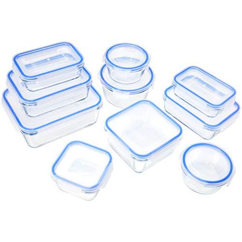 Amazon Basics - Glasbehälter für Lebensmittel, mit Deckel, 20 -teiliges Set(10 Behälter + 10 Deckel), BPA-freie