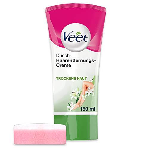 Veet Dusch-Haarentfernungscreme Silky Fresh, Schnelle & Effektive Haarentfernung für unter der Dusche, 1 X 150 ml Tube Mit Schwamm