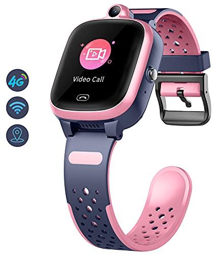 Kinder Smartwatch mit GPS 4g WiFi LBS Tracker Echtzeitposition HD Touchscreen SOS Videoanruf Sprachchat Wasserdicht Kompatibel Android und IOS für Jungen Mädchen