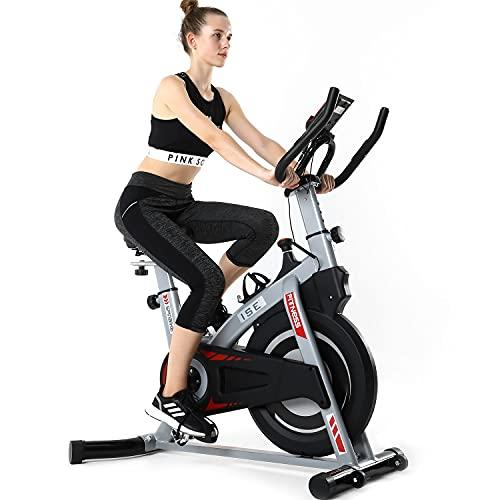 ISE Profi Indoor Cycle Ergometer Heimtrainer mit Pulsmesser,Armauflage,gepolsterte, Fitnessbike SY-7020