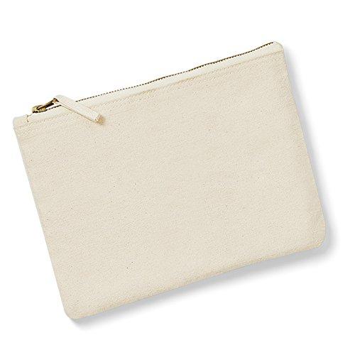 Westford Mill Canvas Zubehör Tasche Handtasche Vintage Style Metall Reißverschluss 100% gebürstete Baumwolle, Braun - natur - Größe: Medium