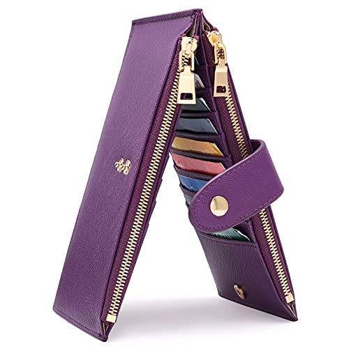GIOACII Geldbörse Damen Leder Brieftasche RFID Schutz Reißverschluss Kreditkartenetui, Lang Bifold Geldbeutel für Frauen mit 18 Kartenfächern Portmonee Handy Handtasche