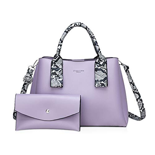 NICOLE & DORIS Mode Taschen 2-Teiliges Set umhängetasche mit großer Kapazität+Simple Geldbörse für Damen Handtaschen PU Leder Schultertasche Helles Lila