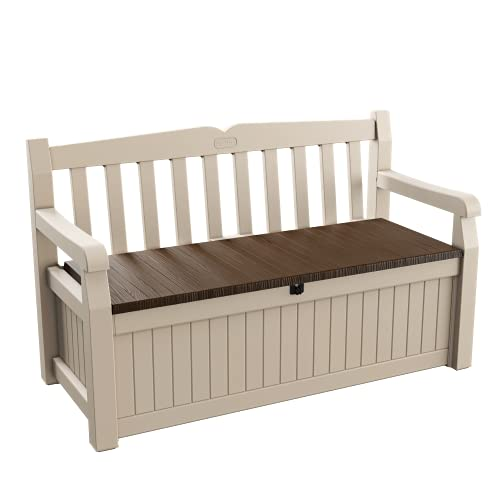 Keter Sitzbank Eden für Balkon und Garten, integrierte Kissenbox mit 265 l Stauraum, braun/beige, 140x60x84cm
