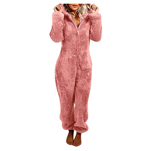 BaZhaHei Bademantel Damen Jumpsuit Schlafanzug Hausanzug Einteiler Winter Warm Fleece Kuschelig Lang Schlafoverall Pyjama mit Kapuze & Reißverschluss Strampelanzug Loungewear