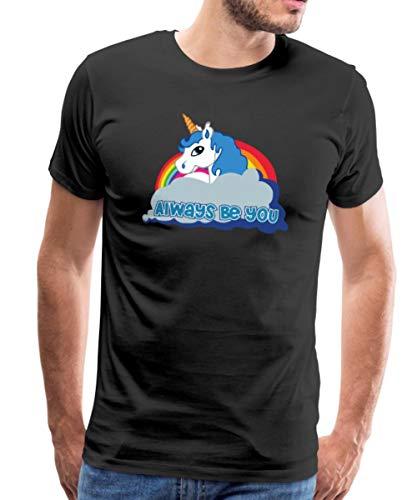 Spreadshirt Einhorn Regenbogen Always Be You Männer Premium T-Shirt, M, Schwarz