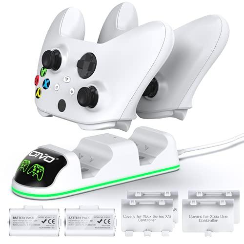 OIVO Controller Ladestation mit 2 wiederaufladbaren Akku für XboxOne/XboxSeriesX/S, XboxOneControllerLadestation mit 2 x1300mAh wiederaufladbaren Akkus Weiß (Xbox One & Series)