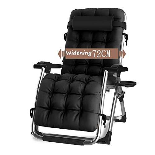 CHAIRQEW Patio-Gartenstühle, die für schwere Leute stützen Schwerelosigkeit-Garten-Strand-Plattform-Sonnenruhesessel Support200kg im Freien (Color : Black)