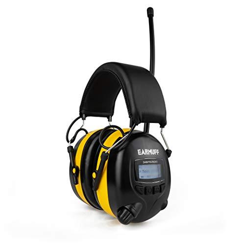EARMUFF Gehörschutz mit DAB+ & FM 31dB Dämmung | Lieblingsradiosender & Musik über Digital Radio & FM Radio hören | elektronischer Ohrenschutz für Erwachsene | Baustellen, Gartenarbeit & Forstbetrieb