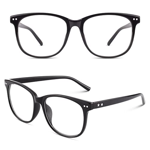 CGID CN81 Damen Herren Styler klassische Nerdbrille Streberbrille Pantobrille 80er Jahre Klarglas Fashion Oversized Nerd Geek Style, Glossy Schwarz, 55