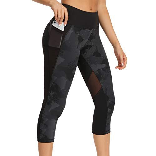 Sporthose Damen 3/4 Leggings Sport Gym Capri Leggins Schwarz Yoga Hose Laufhose Blickdicht Small - Grau/Schwarz