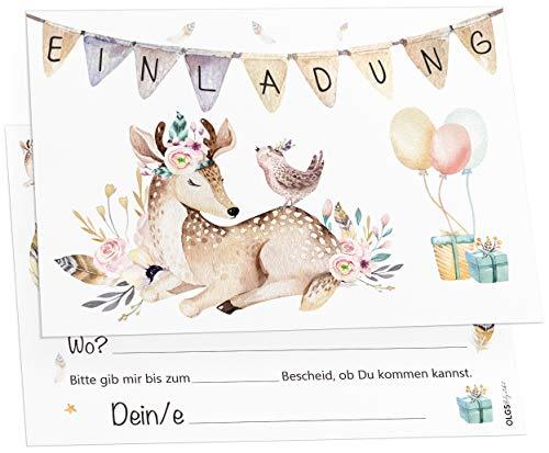 12 Einladungskarten Boho Reh Mädchen Kindergeburtstag Kinder Party Geburtstag-Einladungen zum ausfüllen (Mädchen)