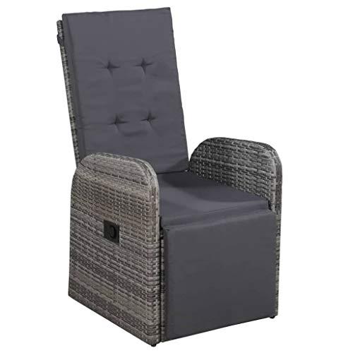 vidaXL Garten Liegestuhl mit Auflage Gartensessel Gartenstuhl Sessel Stuhl Liegesessel Sonnenliege Relaxstuhl Gartenmöbel Poly Rattan Grau