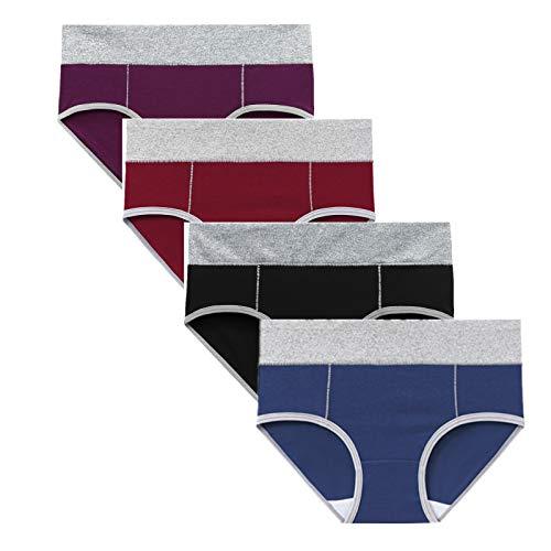 Tyoby Unterhosen Damen Baumwolle Slips Mehrpack Hipster Bequeme Weiche Hoch Taillierte Unterwäsche Atmungsaktive Slips Stretch-Slips 4er Pack(Light Gelb*4pc,XL)